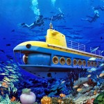 the Cebu Yellow Submarine it can accommodate up to 48 passengers at a time. it can go as deep as 100 meters below the surface